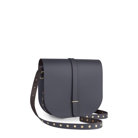 Large Saddle Bag in Leather - Dapple Matte with Brass Rivets Strap