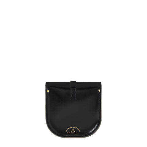 Saddle Bag in Leather - Black Patent & Clay