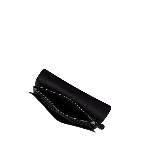 Push Lock Purse with Card Slots in Saffiano Leather - Black Saffiano