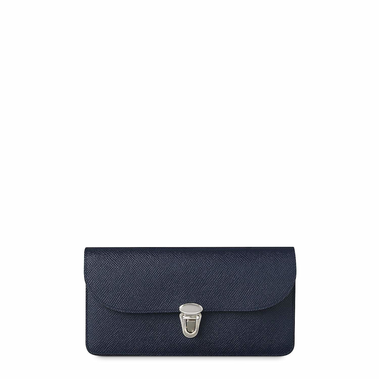 Push Lock Purse with Card Slots in Saffiano Leather - Navy Saffiano