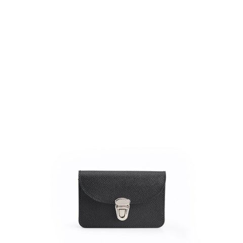Small Push Lock Purse in Saffiano Leather - Black Saffiano