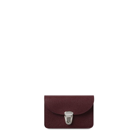 Small Push Lock Purse in Saffiano Leather - Oxblood Saffiano