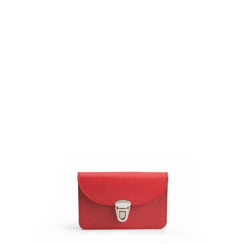 Small Push Lock Purse in Saffiano Leather - Red Saffiano