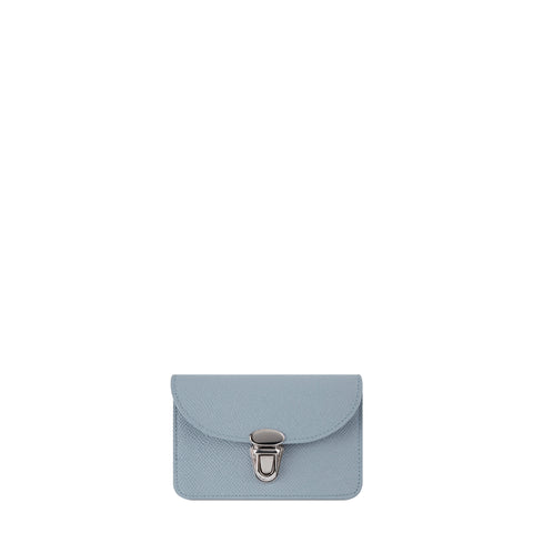 Small Push Lock Purse in Saffiano Leather - French Grey