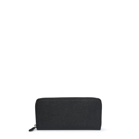 Large Zip Around Purse in Saffiano Leather - Black Saffiano