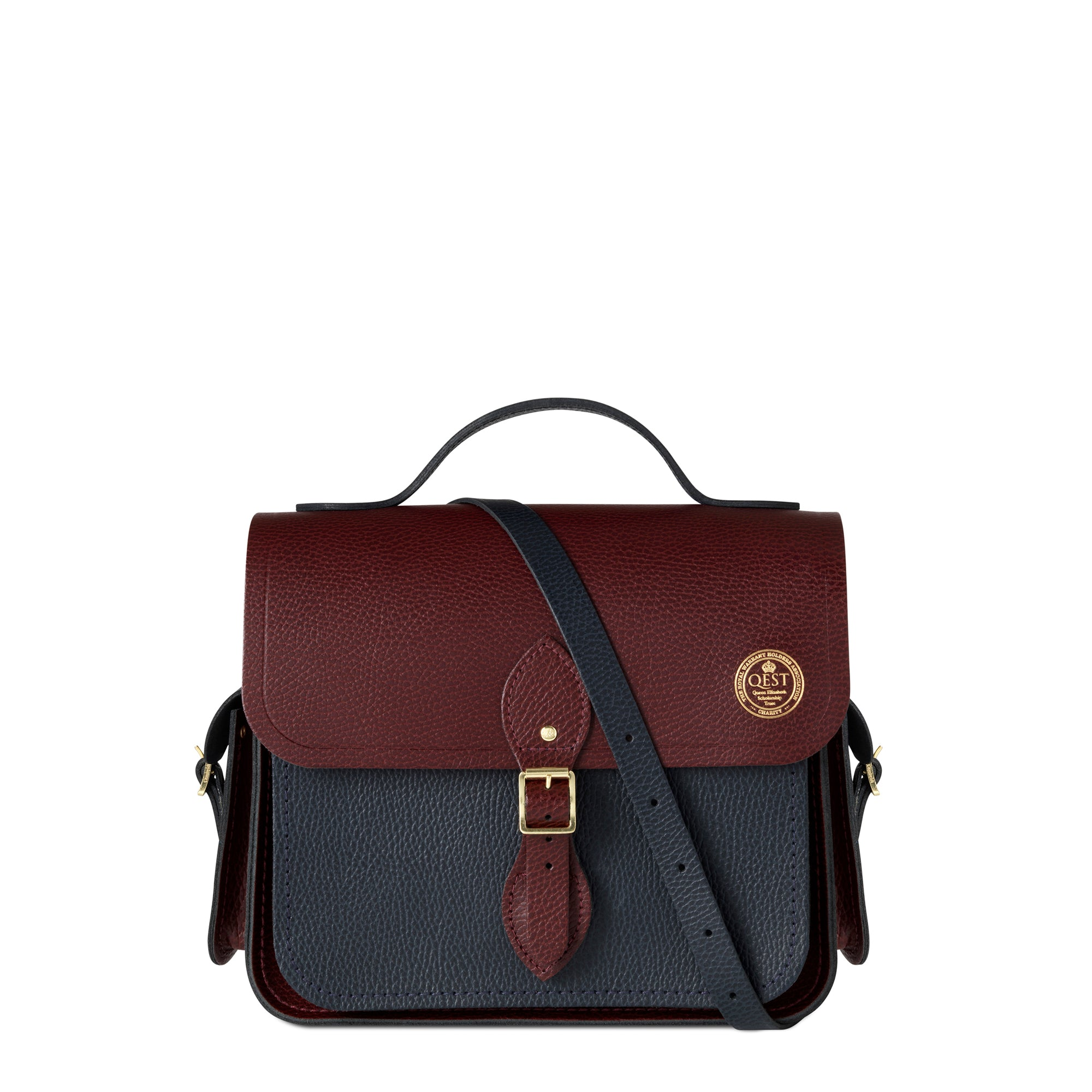 Qest Large Traveller Bag with Side Pockets in Grain Leather - Oxblood & Navy