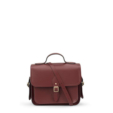 Large Traveller Bag with Side Pockets in Leather - Oxblood
