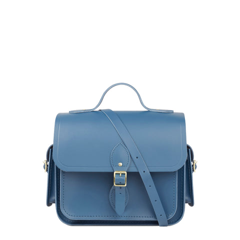 Large Traveller Bag with Side Pockets in Leather - Peacock