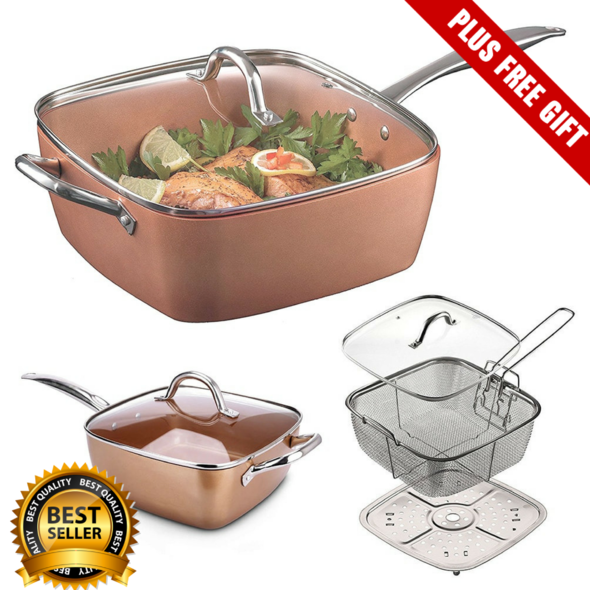 Copper Pan 5 in 1 Multi-Functional Non-Stick Pan (Complete Set) - ohhshopping.com