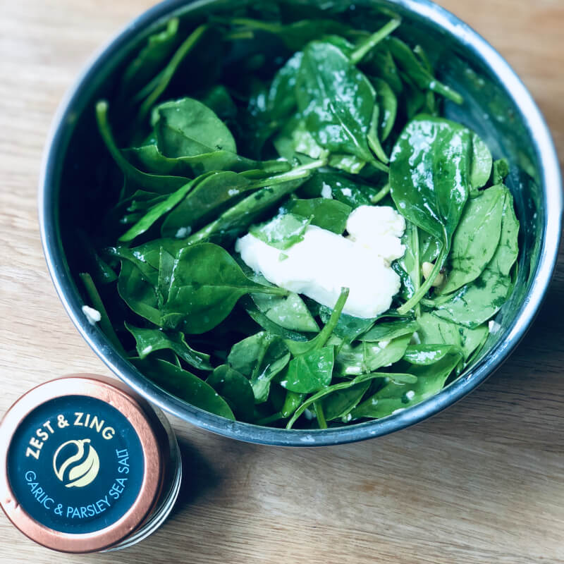 spinach salad with garlic and parsley sea salt