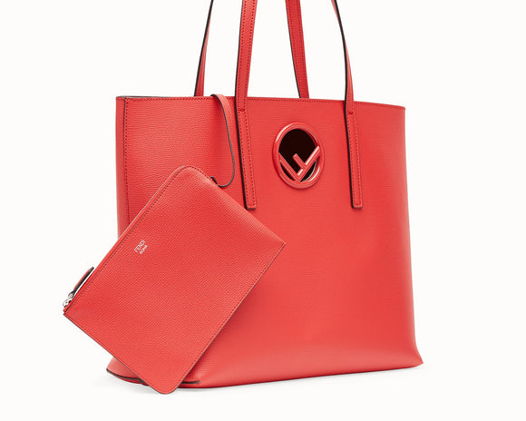 Fendi Logo Red Leather Shopper Bag