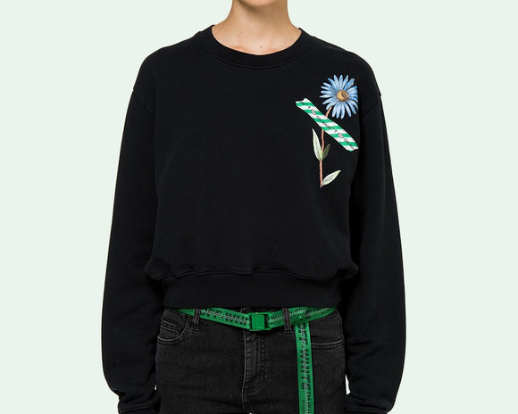 OFF-WHITE FLOWER TAPE CREWNECK