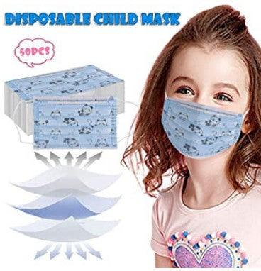 50 Count: Kids FDA Protective 3-Ply Face Mask Disposable Comfortable - Ships Next Day From USA!