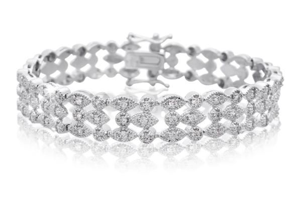 1 Carat Three Row Diamond Bracelet in Platinum Overlay - Ships Same/Next Day!
