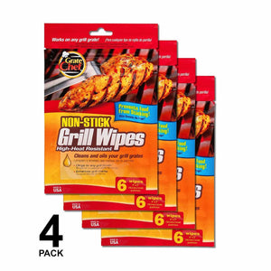 As Low as 58¢ Each: Grate Chef Non-Stick Grill Wipes - High Heat Resistant, Cleans and Oils Your Grill Grate; 24 or 48 Wipes