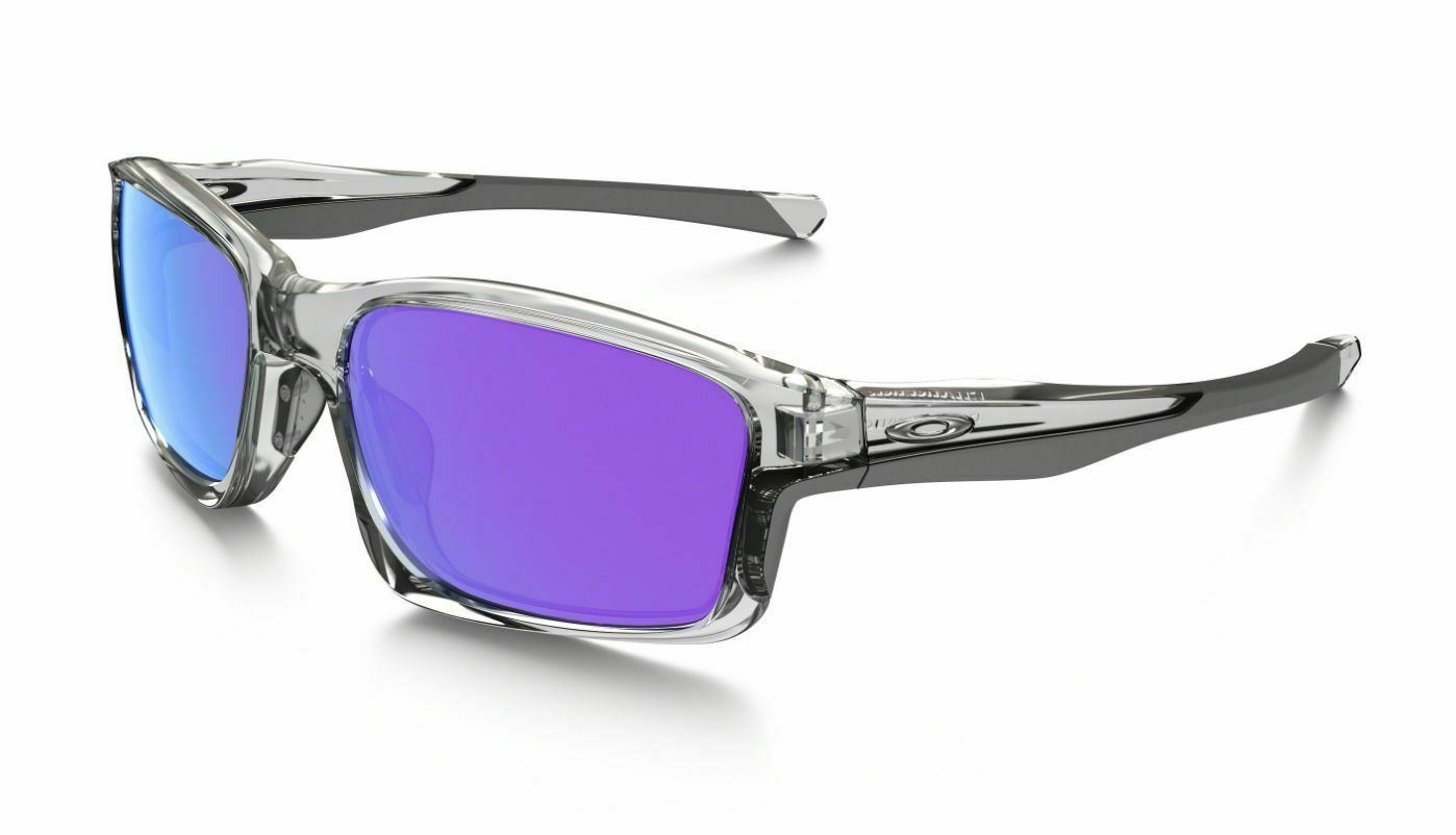 Oakley Chainlink Polished Clear Frame Violet Lens Sunglasses (OO9247 06) - Ships Next Day!