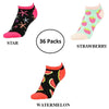 Unibasic Colorful Conversational Print Women's Everyday Wear No Show Socks - 36 Pairs - Ships Next Day!