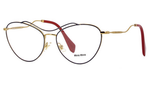 Miu Miu  Blue on Gold & Red RX Eyeglasses (VMU 53P UE6-1O1 56MM) - Ships Same/Next Day!