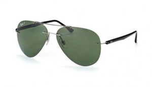 Ray-Ban Rimless Polarized Green Lens Sunglasses - (RB8058 004/9A  59mm) - Ships Same/Next Day!