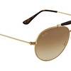 Ray-Ban Shiny Gold / Brown Double Bridge Sunglasses (RB3540 001/51 53mm) - Ships Same/Next Day!