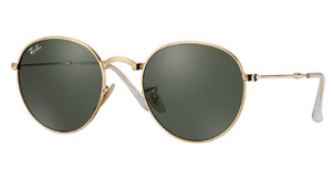 Ray-Ban Round Gold Metal/Green Classic G-15 Lens Folding Sunglasses (RB3532 001)!