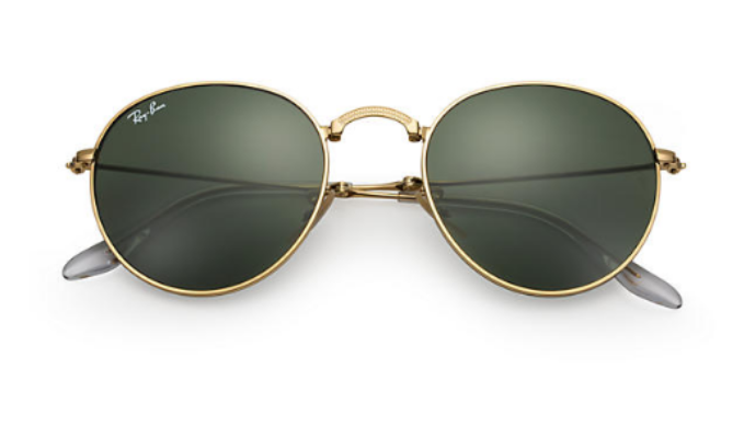 5883d4230a Ray-Ban Round Gold Metal Green Classic G-15 Lens Folding Sunglasses ...