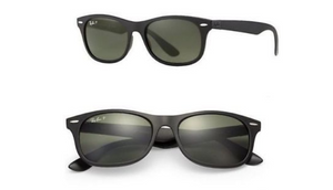 Ray-Ban Liteforce Wayfarer Black/Green Polarized Sunglasses (RB4207 601S9A 52MM) - Ships Same/Next Day!