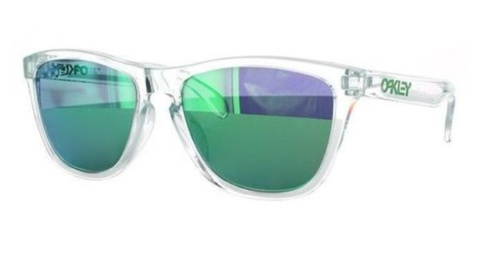 Oakley  Frogskins Clear Crystal W/ Jade Iridium Sunglasses (OO9245-38) - Ships Same/Next Day!