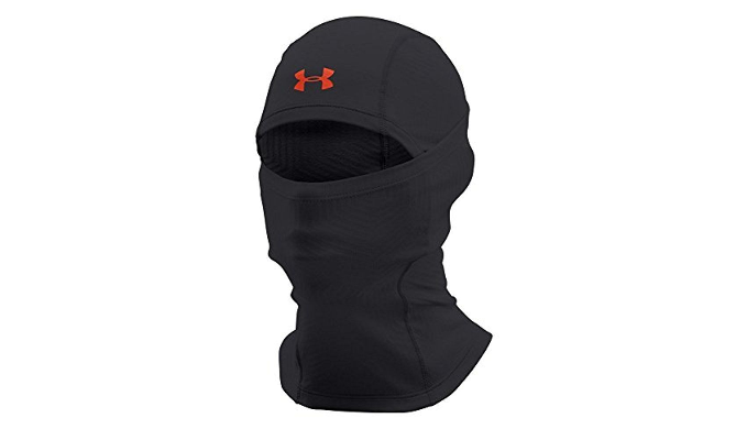 Under Armour Men's ColdGear Infrared Tactical Hood, Black/Dynamite - Ships Same/Next Day!
