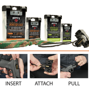 Hoppe's BoreSnake Den: World's Fastest Gun Bore Cleaner w/ T Handle (Color May Vary) – Ships Same/Next Day!