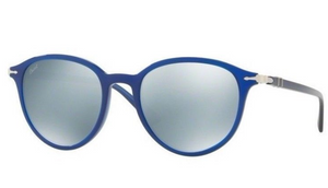 Persol Blue Green / Mirror Silver Plastic Oval Sunglasses (PO3169S) - Ships Same/Next Day!