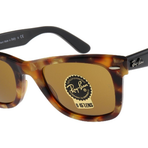 Ray-Ban Wayfarer Fleck Tortoise | Brown Classic B-15 (RB2140 1160 50mm) Sunglasses - Ships Same/Next Day!