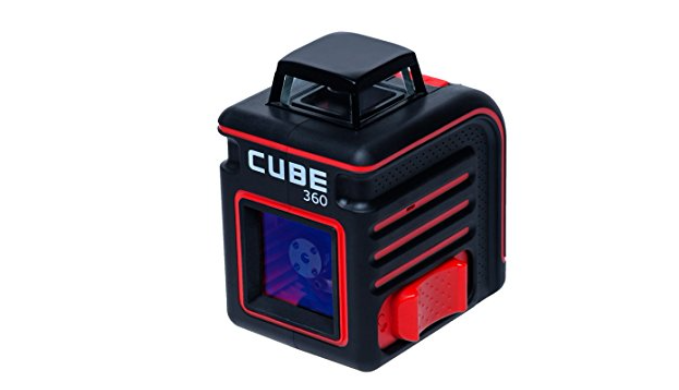 AdirPro Cube 360 Horizontal Cross Line Laser with Accessories, Red/Black - Ships Same/Next Day!