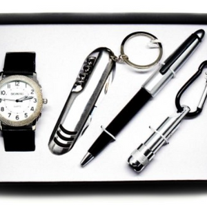 4-Piece Gift Box: Calvin Hill Men's Watch Gift w/ Pen, Flashlight &  Tool - Ships Same/Next Day!