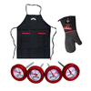 Jim Beam Deluxe Grilling Bundle: Grilling Apron, Heat Resistant Mitten, 4 Thermometers!