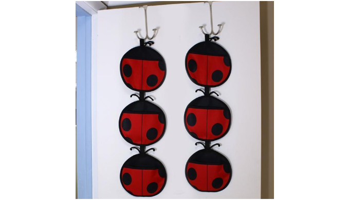 2 Pack: 3 Tier Lady Bug Over The Door Organizer Rack - Ships Same/Next Day!