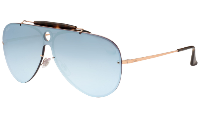 Ray-Ban Blaze Shooter Bronze Copper / Blue Mirror Sunglasses (RB3581N 90351U) -Ships Same/Next Day!