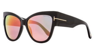 Tom Ford Anoushka Shiny Black Cateye Sunglasses (TF371 01Z) - Ships Same/Next Day!