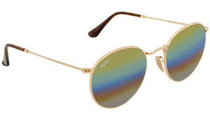Ray-Ban Gold / Gold Rainbow Flash Mirrored Round Sunglasses (RB3447 001/C4) - Ships Same/Next Day!