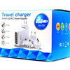 6-Port USB Travel Charger with International A/C Power Adapters - Ships Same/Next Day!