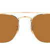Ray-Ban Gold / Brown Square Sunglasses (RB3557 001/33) - Ships Same/Next Day!