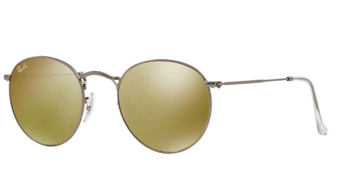 Ray-Ban Round Metal Matte Gunmetal Gold Mirror Sunglasses - Ships Same/Next Day!