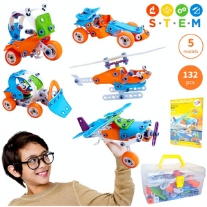 STEM 5in1 Fun Educational Engineering 132 Pcs Kit - Ships Same/Next Day!