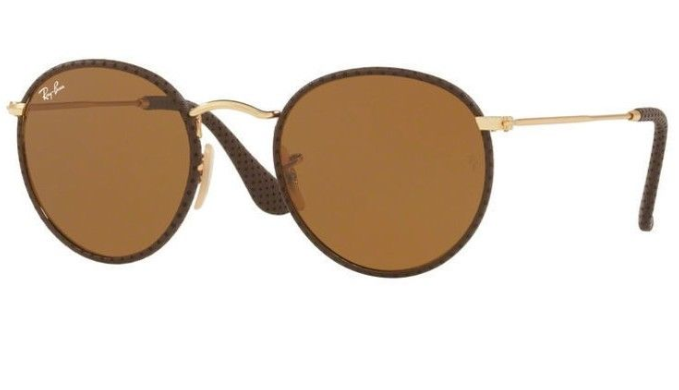 Ray-Ban Brown Leather / Brown Sunglasses (RB 3475Q 9041 50MM) - Ships Same/Next Day!