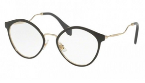 Miu Miu Black Gold RX Optical Eyeglasses ( VMU 52Q 1AB-1O1 52MM) - Ships Same/Next Day!