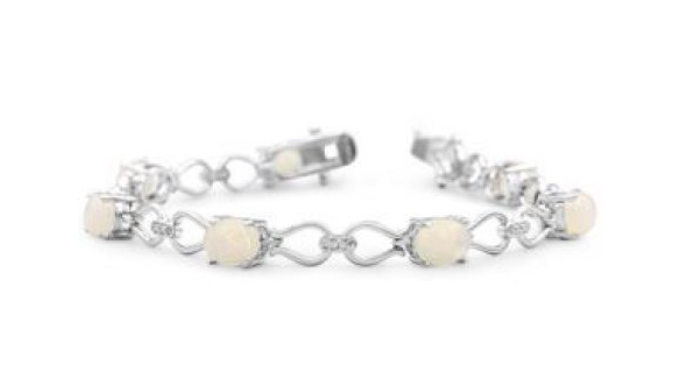5 1/2 Carat Opal and Diamond Bracelet In Platinum Overlay 7 Inches - Ships Same/Next Day!