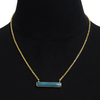 10 Carat Turquoise Bar Necklace In Yellow Gold Overlay. 17 Inches - Ships Same/Next Day!