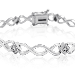 Dainty Diamond Accent Bracelet, Platinum Overlay, 7 Inches - Ships Same/Next Day!