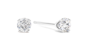 Nearly 1/4ct Diamond Stud Earrings In Sterling Silver - Ships Same/Next Day!