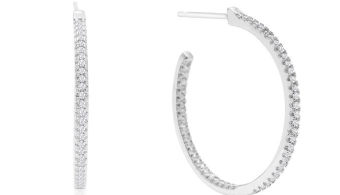 Sterling Silver 1/4 Carat Diamond Inside Out Hoop Earrings, 1 Inch - Ships Same/Next Day!